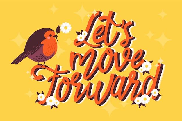 Allons de l'avant avec l'oiseau illustré