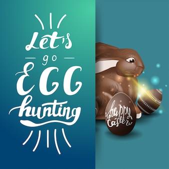 Allons à la chasse aux œufs, modèle de carte postale bleu avec lettrage