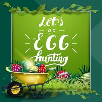 Allons à la chasse aux œufs, modèle de carte postale verte