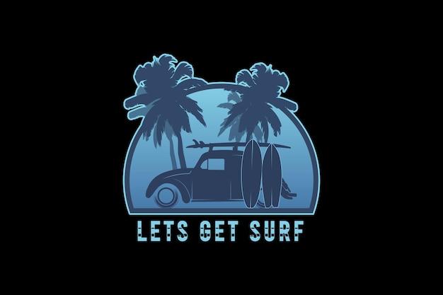 .allons surfer, illustration de dessin à la main de style vintage rétro