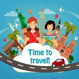 Allons voyager. l'industrie du voyage. bâtiments du monde célèbres. temps de voyager.