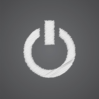 Allumer l'icône de doodle de logo de croquis isolé sur fond sombre