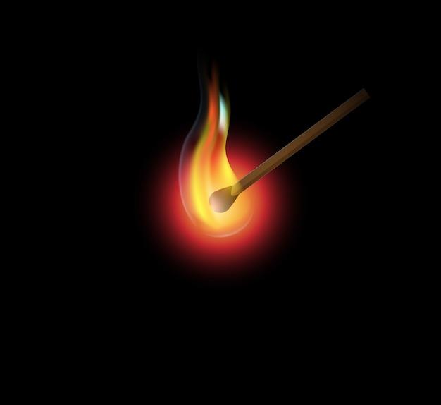 Allumette brûlante, feu réaliste sur fond noir.