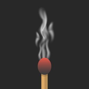 Allumette brûlée avec de la fumée.