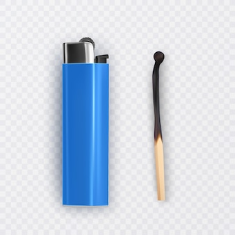 Allumette brûlée et plus claire de couleur bleue