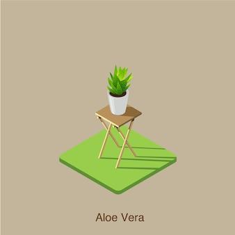 Aloe vera art vectoriel isométrique en 3d.