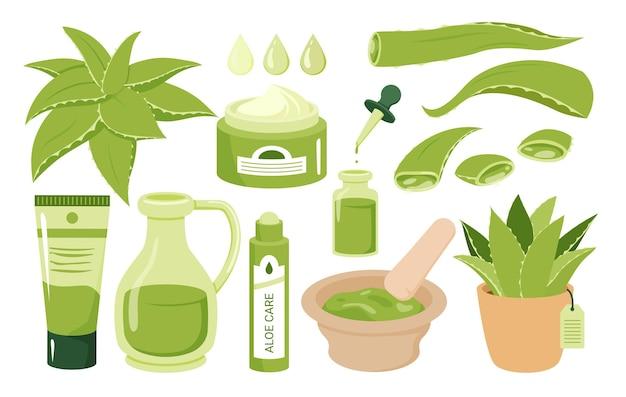 Aloe vera cosmétique beauté soin de la peau gouttelette de gel bio de feuilles d'aloès sérum crème naturel