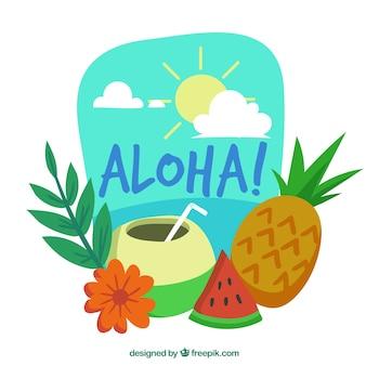 Aloha background avec une boisson exotique et des fruits