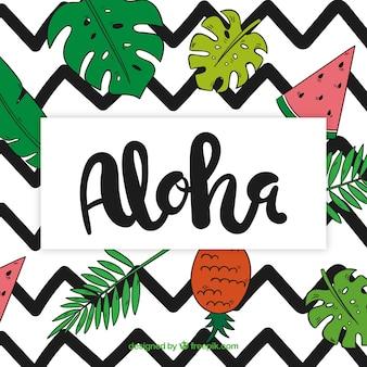 Aloha background avec des dessins de feuilles et de fruits