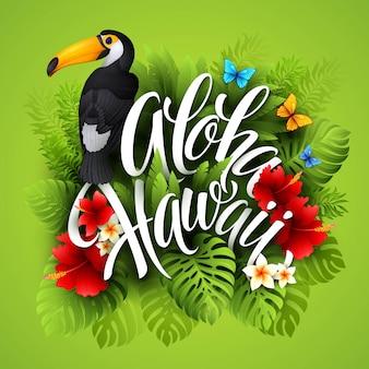 Aloha hawaii. lettrage à la main avec des fleurs exotiques. illustration