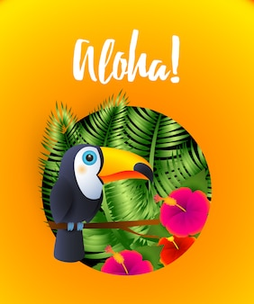 Aloha lettrage avec des plantes tropicales et toucan en cercle