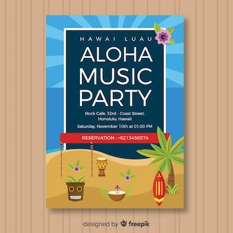 Aloha musique flyer de fête