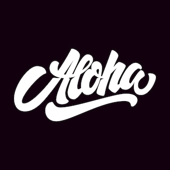 Aloha. phrase de lettrage sur fond sombre. élément pour affiche, carte, t-shirt. illustration
