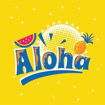 Aloha phrase avec la pastèque. citation d'été