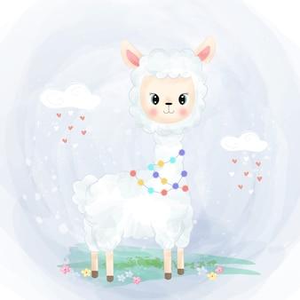 Alpaga bébé mignon