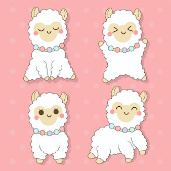 Alpaga - ensemble d'animaux mignons kawaii charactor illustration