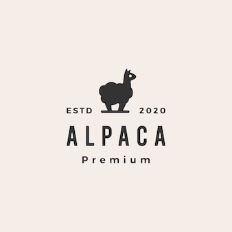 Alpaga hipster logo vintage icône illustration