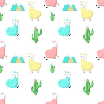 Alpaga mignon avec cactus