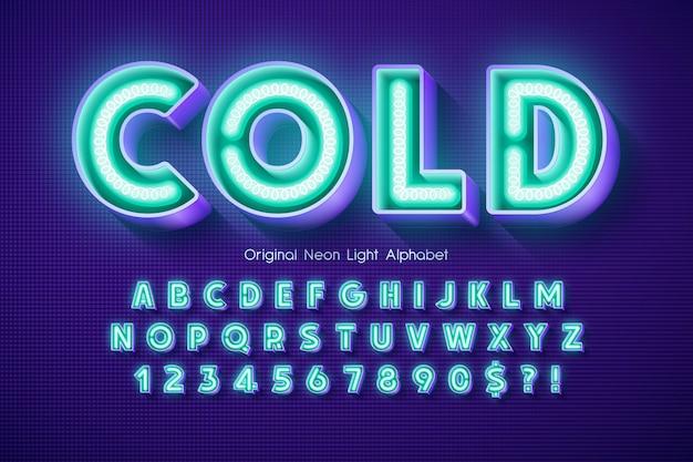 Alphabet 3d au néon, type moderne extra brillant.