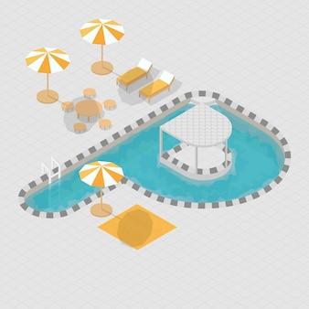 Alphabet 3d isométrique de piscine p