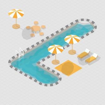 Alphabet 3d isométrique de piscine l
