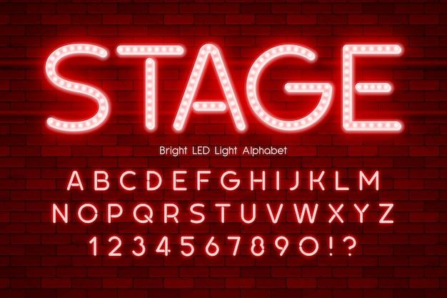 Alphabet 3d de lumière led, type moderne très brillant.