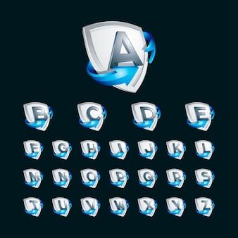 Alphabet 3d sur le modèle d'illustration logo bouclier