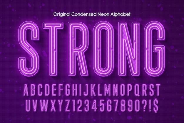 Alphabet 3d néon, type moderne extra brillant. contrôle des couleurs de l'échantillon.