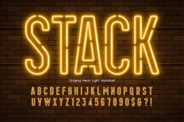 Alphabet 3d néon, type moderne très brillant.