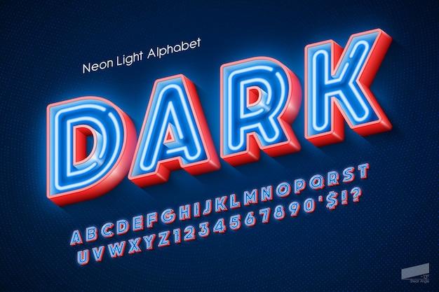 Alphabet 3d néon, type original extra brillant. contrôle des couleurs de l'échantillon.