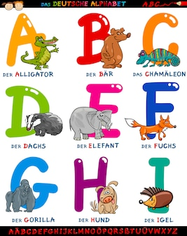 Alphabet allemand avec des animaux de dessin animé