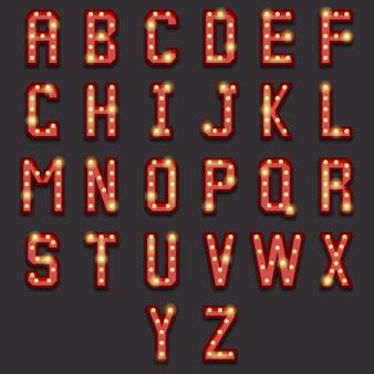 Alphabet ampoule rétro. lettre vintage, lampe lumineuse, typographie ampoule, abc brillant