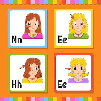 Alphabet anglais. cartes flash carrées lettre n, e, h. abc.