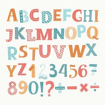 Alphabet anglais et chiffres. division, addition, signe, signe moins