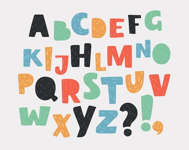 Alphabet anglais dessiné à la main. ensemble de lettres de différentes couleurs. abc des caractères latins majuscules et symboles spéciaux. illustration de dessin animé de vecteur de concept moderne +