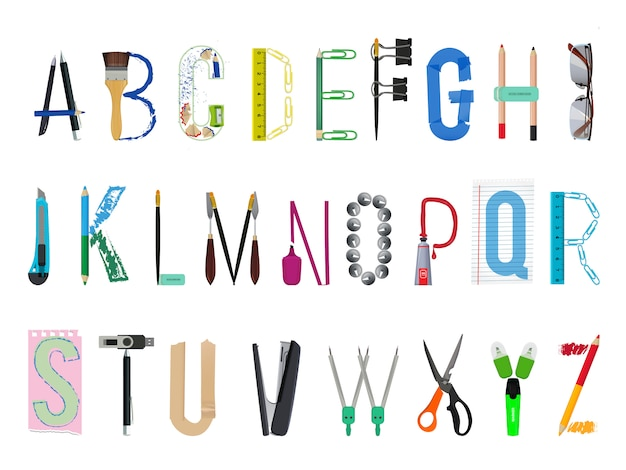 Alphabet anglais de fournitures de bureau. abc et accessoire bureau, stylo et crayon, illustration vectorielle