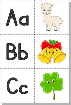 Alphabet anglais avec des personnages de dessins animés. cartes flash.