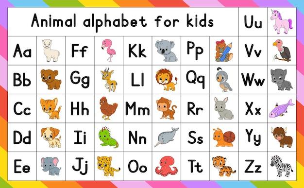 Alphabet anglais avec des personnages de dessins animés.