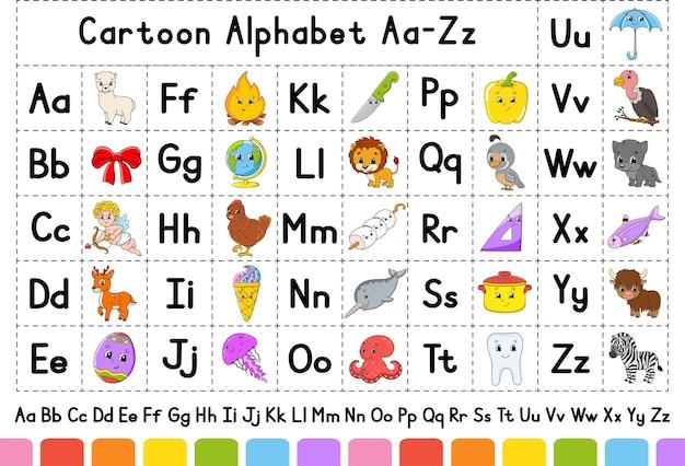 Alphabet anglais avec des personnages de dessins animés