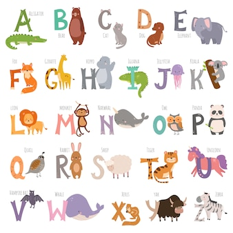 Alphabet anglais de zoo mignon avec des animaux de dessin animé isolé