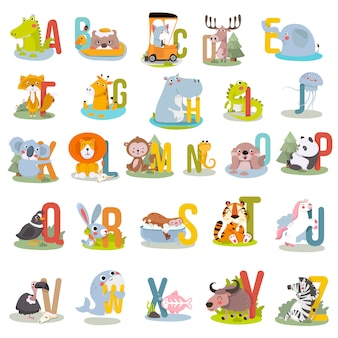 Alphabet animal graphique de a à z.