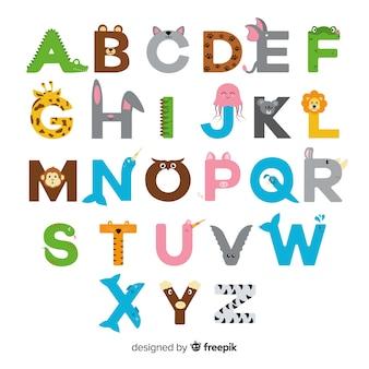 Alphabet animal avec lettres colorées