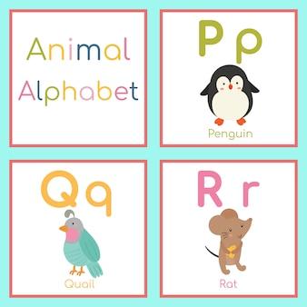 Alphabet animal mignon. lettre p, q, r. pingouin, caille, rat