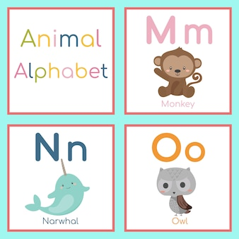 Alphabet animal mignon. m, n, o lettre. singe, narval, hibou.