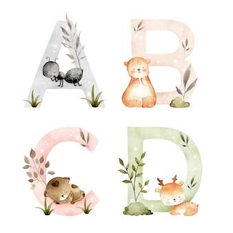 Alphabet animaux dessinés à la main aquarelle