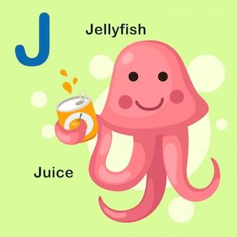 Alphabet des animaux avec illustration lettre j jellyfish, jus