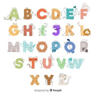 Alphabet des animaux mignons dessinés à la main