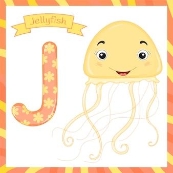 Alphabet des animaux mignons j lettre flashcard de méduses