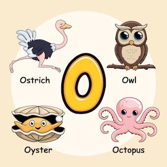 Alphabet animaux mignons lettre o