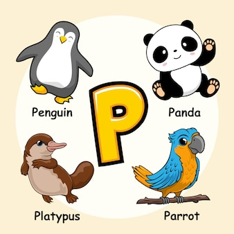Alphabet animaux mignons lettre p